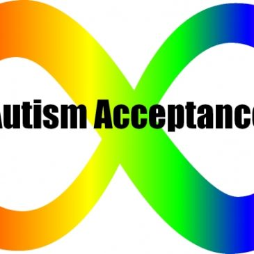 Autism acceptance infinity sign with a full spectrum rainbow